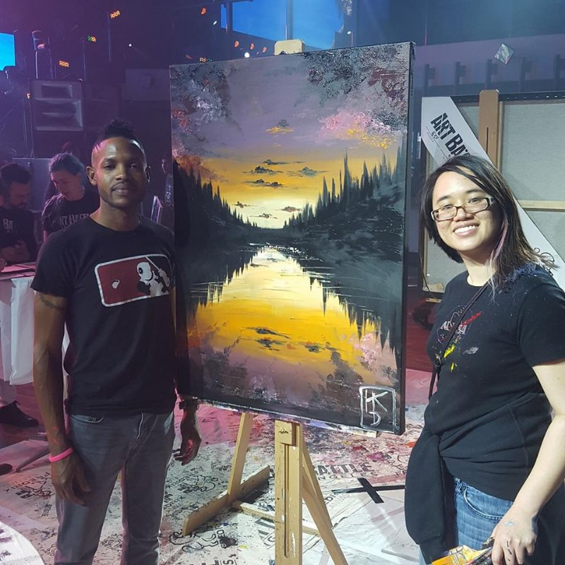 Cousin and her winning painting taken with previous LA Art Battle champion.