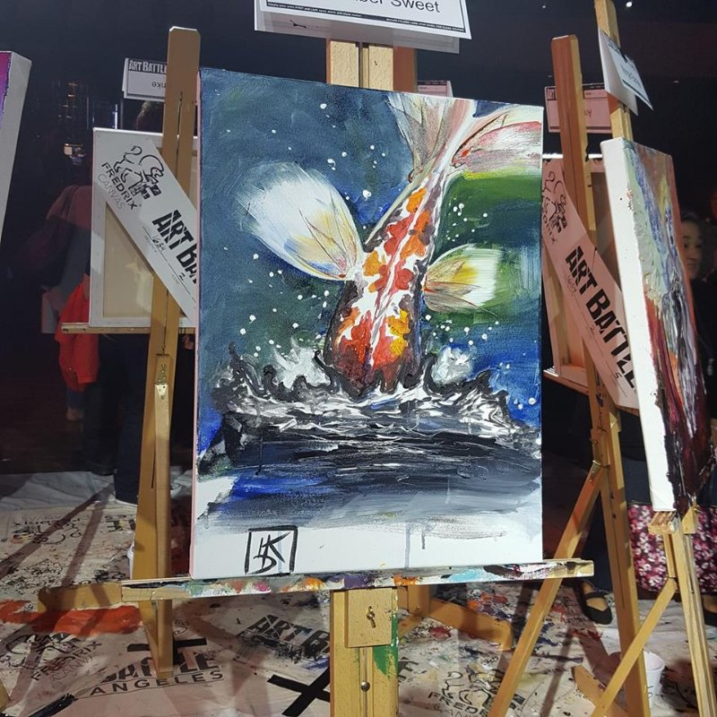 LA Art Battle round 1 painting Koi