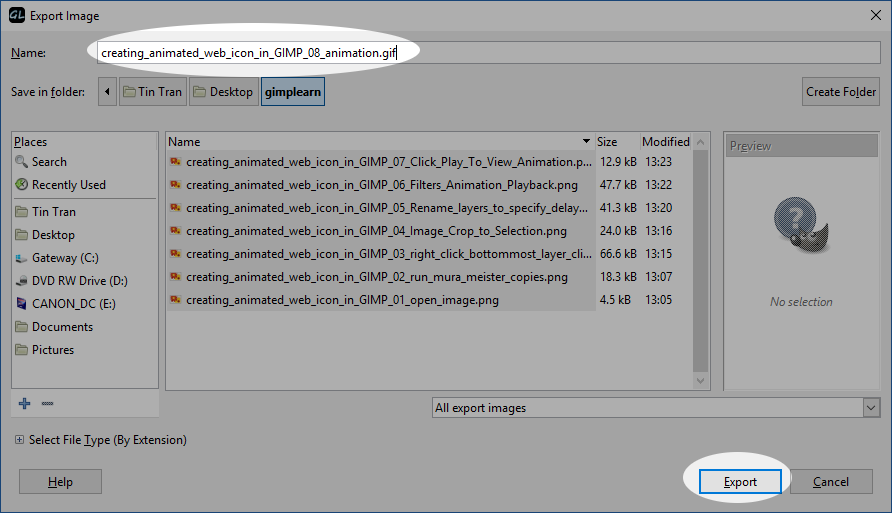 Creating a rotating animated gif in GIMP (using the Mura