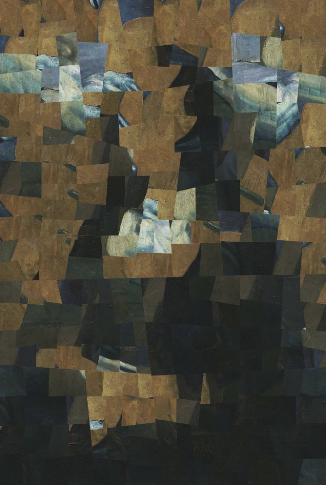 uneven tiles composition of mona lisa using Picasso's Guitarist as texture